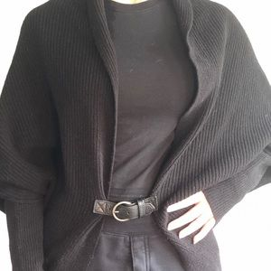 All Saints wool and leather sweater